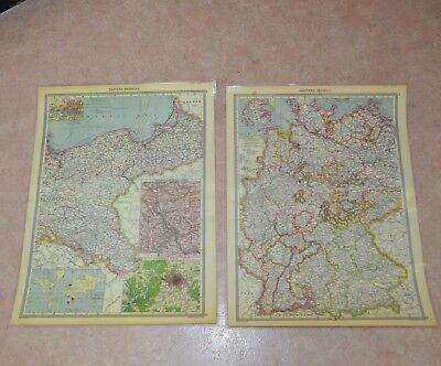2 Laminated Print of Old Detailed Map Eastern & Western Germany East West