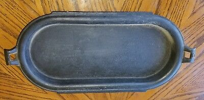 Vintage Lipped Cast Iron Oval Griddle
