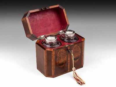 Antique Tea Chest With Silver Glass Caddies