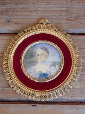 ANTIQUE Signed Victorian MINIATURE PORTRAIT French LADY in PIERCED GILT FRAME