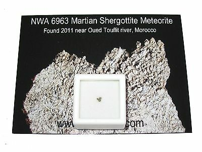 Martian Mars meteorite NWA 6963 fragments in display Pieces of the Red Planet