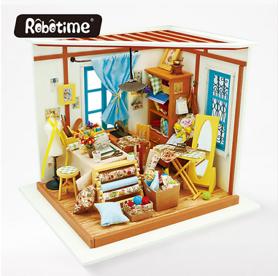 Robotime 3D DIY Doll House Lisa's Tailor Wooden Puzzle Handmade Home Miniature