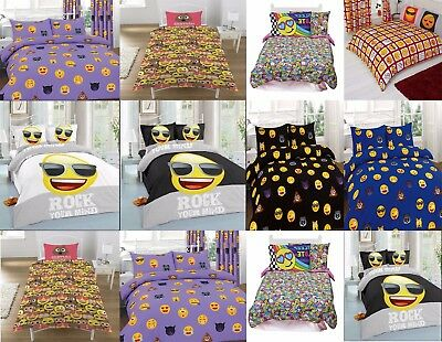 Emoji Expressions Duvet Cover Set Bedding - Grey & Black - Single & Double