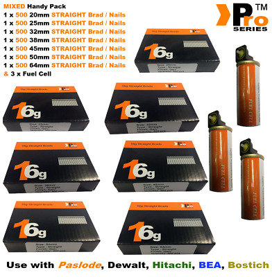20mm+25mm+32mm+38mm+45mm+50mm+64mm,3500 16g STRAIGHT nails+3xGas for Paslode, a7
