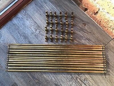 Vintage Victorian 13 Brass Acorn Stair Rods 56cm Long & 12 Brass Brackets