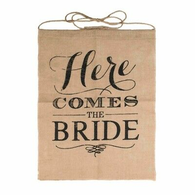 """""""Here Comes the Bride"""" Wedding Rustic Ceremony Burlap Banner For Flower Chi L2B5"""
