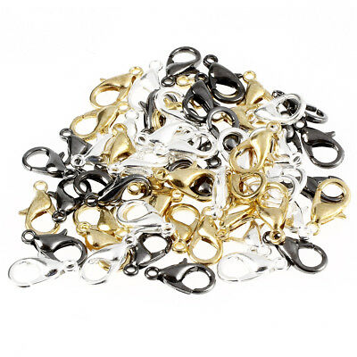60-Piece Mix Lobster Claw Clasps for Jewelry Making 12mm Silver Gold Black B2Q2