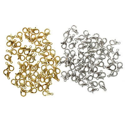 100 Lobster Jewellery Making Clasps 10mm 50 Each Gold & Silver Plated V1H0