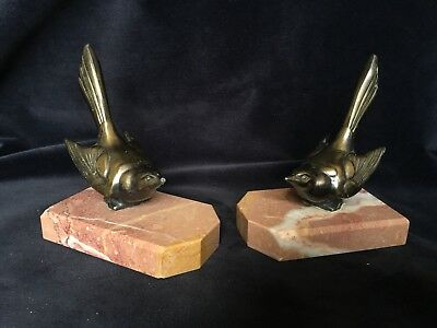 Fabulous 1920s Art Deco Polished Bronze Bird Bookends On Pink Marble