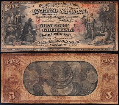 Genuine *ULTRA RARE* 1870 $5 National Gold Bank Note of SAN FRANCISCO, CA!
