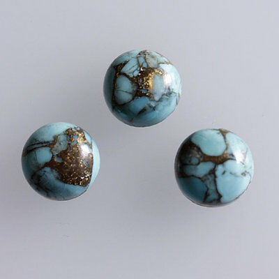 20MM Round Shape, Blue Copper Turquoise Calibrated Cabochons AG-233