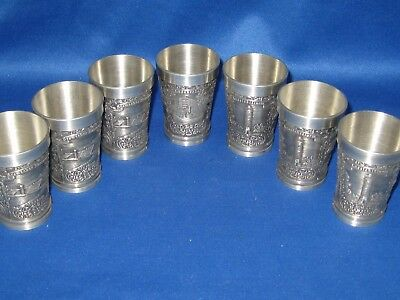 Lot of 7 Antique German Embossed Heavy Solid  Pewter Shooters Engraved