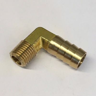 """1//2/"""" x 3//8/"""" Barbed Brass Hose Fitting Adaptor Mendor 90 Degree Elbow #36"""