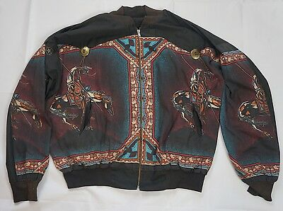 Rare Vintage Native American Indian Tribal Horse Spear Print Full Zip Jacket 90s