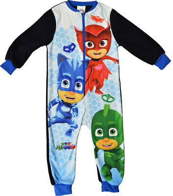PJ Masks All In One Fleece Sleepsuit Boys Pyjamas Ages 18 Months To 5 Years