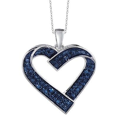 Round Blue Natural Diamond Heart Pendant 14k Gold Over 925 Sterling Silver