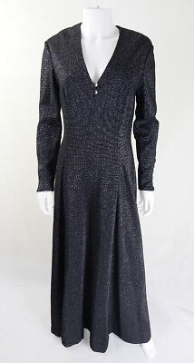 50s/60s Vintage Horrockses Black Shimmer Evening Maxi Dress UK Size 12/14