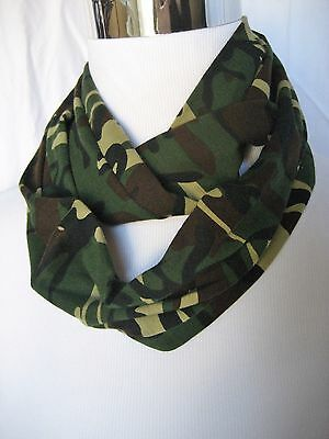 Baby Toddler unisex SMALL Green Camo jersey knit PHOTO PROP Infinity Scarf