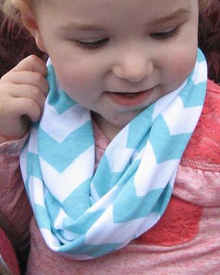 Aqua Blue Baby Toddler Kids zigzag Chevron jersey Infinity Scarf drool catcher