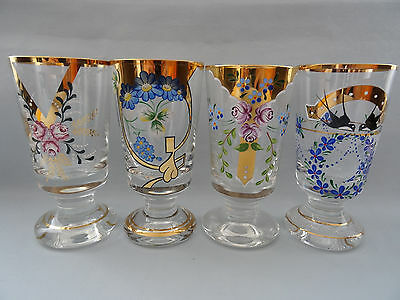 Bohemian Crystal 4 Cups Flowers Bird Gold Plated 5,7""