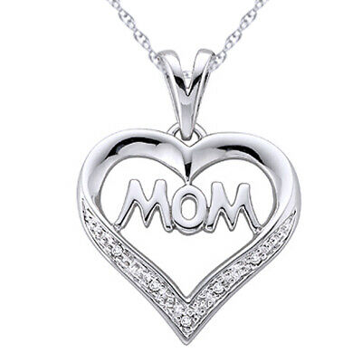 "Natural Diamond Mom Heart Pendant 18"" Chain 14k Gold Over 925 Sterling Silver"