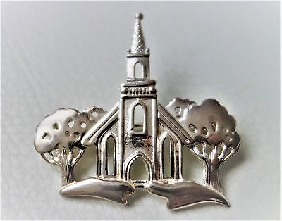 BROCHE vintage NEUF DANECRAFT signé Eglise & Arbre Silvertone church Tree Brooch
