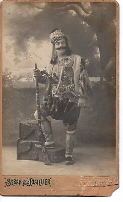 """""""Ottoman Turk Soldier, Cabinet Photograph"""" by Constantinople Photographer 1890's"""