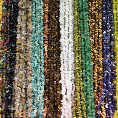 5-8mm Natural Gemstone Chips Freeform Nugget Gravel Beads for DIY Jewelry 34""