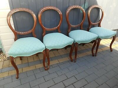 Set of 4 Antique Balloon back Chairs - Carved backs - Duck Egg Blue Seats