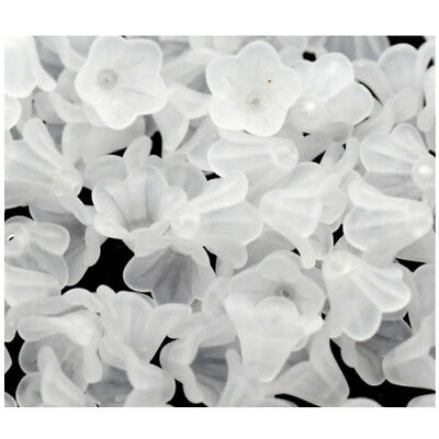 200 White Lily Flower Frosted Acrylic Beads 14x10mm E5F3