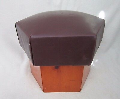 Vintage Retro Modern Foot Stool/Ottoman Round Vinyl Top With a Wooden Base