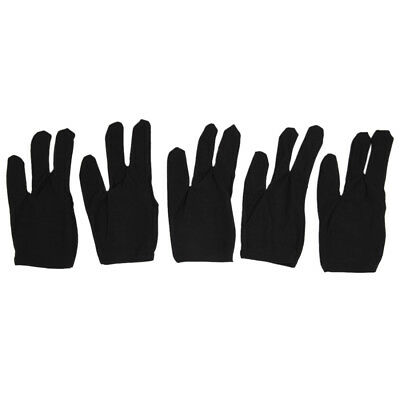 New UK  5 Black Billiards Pool Snooker Cue Shooters 3 Fingers Gloves X5M2
