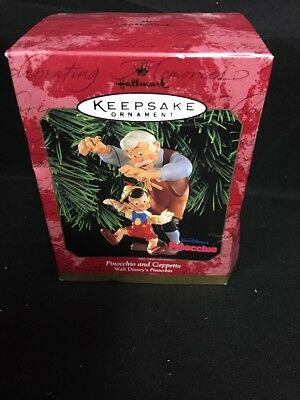 1999 PINOCCHIO and GEPPETTO NEW Hallmark Walt DIsney Classic Ornament PUPPET NIB