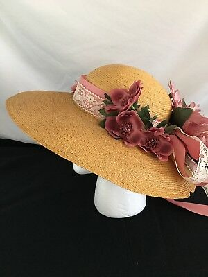 Vintage 1970's Stetsons Fifth Avenue Wide brim ladies straw hat Pink flowers