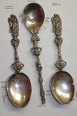 3 1800's RARE VINTAGE STERLING SILVER GEORGIAN VICTORIAN 19TH CENT SPOONS ANGELS