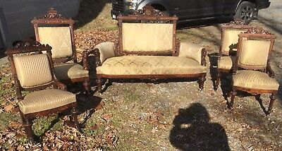 Renaissance John Jelliff Walnut And Burl 5 Pc. Parlor Set