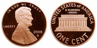 2008 S Lincoln Dcam Proof 1C Memorial One Cent Copper Plated Zinc Penny#2008Pr