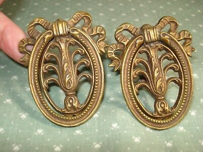 Pair Vintage Antique Victorian Ornate Brass Drawer Pulls