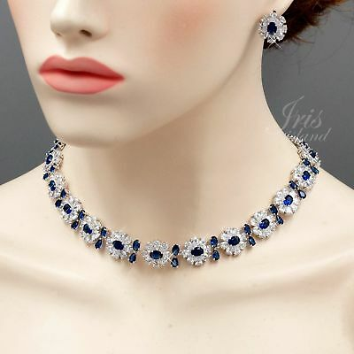 White Gold Plated Sapphire Zirconia CZ Necklace Earrings Wedding Jewelry Set 682