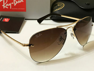 Ray Ban RB 3449 001/13 Sunglasses Gold / Brown Gradient Size 59MM .