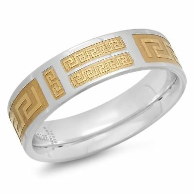 Stainless Steel Ring with Gold Greek Design