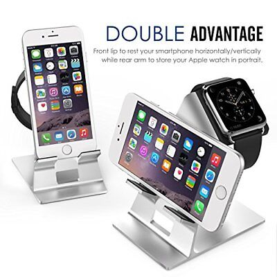 Apple Watch Stand Phone Aluminum Alloy Charging Stand Station Desk Holder Silver