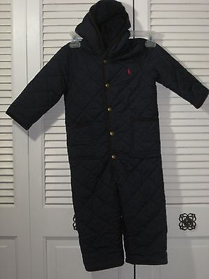 Polo Ralph Lauren Navy Blue W/Red Pony Thermal Quilted Snow Suit Boys 24 Months