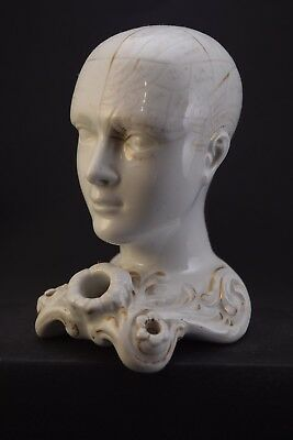 Rare Antique Genuine 19th C  Staffordshire Ceramic Phrenology Head Inkwell w Pen