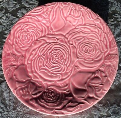 "Bordallo Pinheiro Pink Plate Embossed Cabbage Roses 9"" inch Portugal"