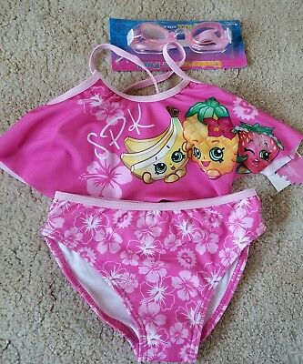 697fe8150e92c Shopkins 2-Piece Pink Swimsuit Tankini Swim Set With Goggles Girls' Size 4  NEW