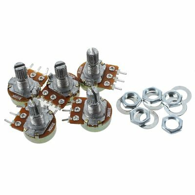 5 Pcs B100K 100K ohm Single Linear Taper Rotary Potentiometers Silver A0C0