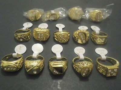 gold plated rings 70p!! x 50 mens womens sovereign wholesale bulk ring joblot