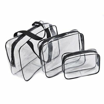 Hot 3pcs Clear Cosmetic Toiletry PVC Travel Wash Makeup Bag (Black) J8B5