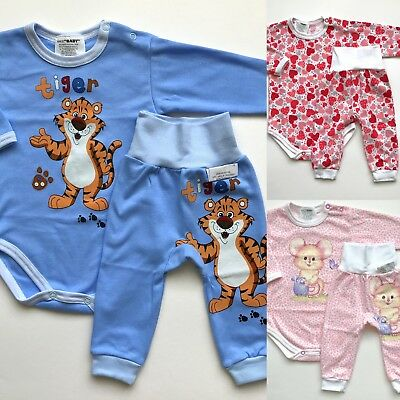 BABY GIRL BOY 0-24 Months BODYSUIT AND TROUSERS SET/ PYJAMAS 100% COTTON